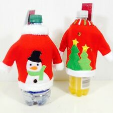 Ugly Christmas Sweater Wine Holiday Bottle Covers Dinner Party Gift Snowman Tree