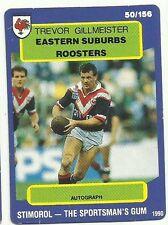 1990 NRL SCANLENS STIMOROL SYDNEY ROOSTERS TREVOR GILLMEISTER #50 CARD