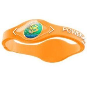 Authentic Power Balance Silicone Wristband - Neon Orange/White - Small