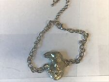 Rhino Head TG30 Fine English Pewter on a Anklet / Bracelet