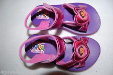 "Toddler Girls DORA SANDALS Open Toe PURPLE PINK HEART 1"" Heel ANKLE STRAP  S 5-6"