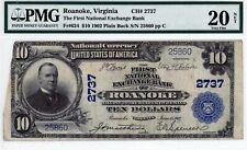 Roanoke, Virginia  The NB Exchange Bank  $10 1902 PB  CH# 2737 PMG 20 NET
