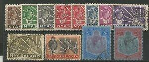 NYASALAND 1938 GEORGE VI GENERALLY FINE USED SHORT SET TO 2/- SG130 - SG139**