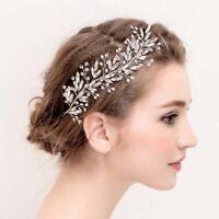 Silver Exquisite Flower Pearl Wedding Hair Vine Bridal Headband Vintage Women