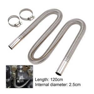 Silver Exhaust Pipe Hose 1.2m Stainless Steel Car Parking Air Heater part Diesel