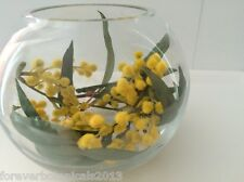 Australian Native Wattle Eucalyptus Fishbowl Display Artificial Flowers 12cm