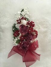 MAROON Bouquet Artificial Flowers CORSAGE Large Hand Made Bridal WEDDING PROM