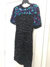 Vintage 80's Lawrence Kazar Black Multi Color Sequin Beaded Silk Dress PP