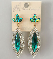 Blue-Green Marquise Shape Crystal Earrings Elegant Evening Party Prom