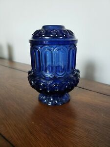 Vintage Cobalt Blue Glass 2 Piece Candle Holder With Lid