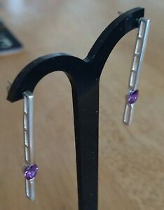 Sterling Silver Amethyst Drop Bar Earrings