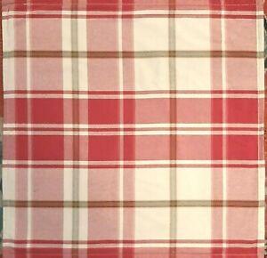 Pottery Barn Pillow Shams - Cotton Red Cream Plaid Check - Euro  A Pair