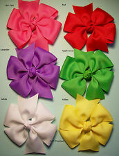 "Lot of 6 Large Pinwheel Hair Bows approx. 4.5""... 40 colors to choose from."