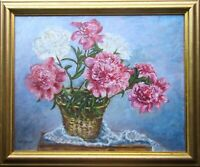 Original Oil Painting Still Life Peonies Flowers Impressionist Floral Wall Art