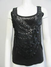 GIVENCHY Paris 9P 100% cotton black sequin embroidered tank top shirt sz M