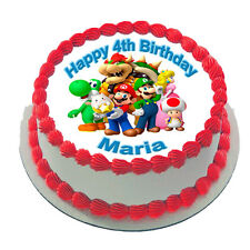 SUPER MARIO BROS REAL EDIBLE ICING ROUND CAKE TOPPER PARTY IMAGE FROSTING SHEET