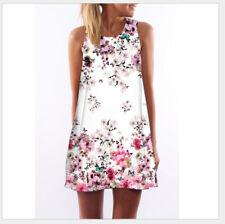 UK Boho Women Sleeveless Floral Printed Mini Dress Summer Beach Short Sundress