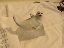 """Franklin Mint Bisque Sculpture Snow Pup Crystal Iceberg Humane Society 4.5"""""""