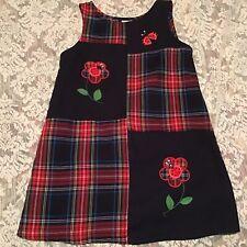 Rare Editions Girls Plaid Jumper Dress W/ Ladybugs Flowers Size 6X