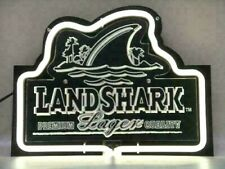 Rare New Land shark Lager Beer Bar 3D Carved Real Glass Neon Sign Light Man Cave