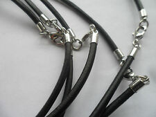 """5 x 3mm Thick Genuine Black leather Necklace Cord 18"""" Long Bulk Buy Wholesale"""