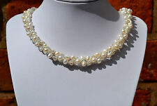 "925 Sterling Silver Genuine Fresh Water White Pearl & Beads Wrap 16.5"" Necklace"