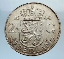 1960 Netherlands Kingdom Queen JULIANA 2 1/2 Gulden Authentic Silver Coin i71591
