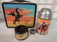VINTAGE 1958 ALADDIN ZORRO BLACK METAL LUNCHBOX COMPLETE W/ THERMOS