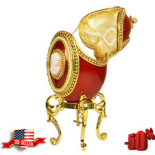Gift Double Ornament Musical Egg Easter Gift Russian Faberge Holiday Red Gold