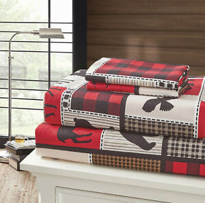 LODGE LIFE 4pc Queen SHEETS SET: BLACK BEAR PAW MOOSE CABIN RED BUFFALO CHECK