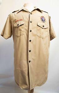 Boy Scouts Official Tan Short Sleeve Shirt Uniform  Mens L Large Some Glue