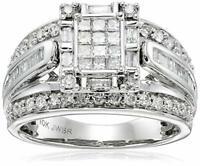 10K White Gold Princess Cut Centre Diamond Engagement Ring (1 cttw), Size 7