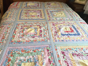 Vintage Handmade Log Cabin Patchwork Quilt - Feed Sacks - Faded Worn - 88X70""