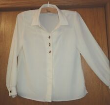 Woman's sz 12 - Ivory cream BLOUSE - Jo Hardin - Altered for narrow shoulders