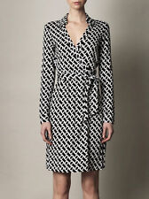 SZ 10 DIANE VON FURSTENBERG New Jeanne Two Medium Chain Link Print Wrap Dress