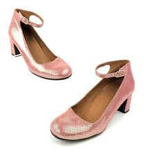 ANTHROPOLOGIE CHIE MIHARA SHOES MARY JANE PUMPS PINK METALLIC HEELS EU 37 US 7