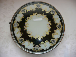 alte drehbare Tortenplatte Kuchenplatte 30 cm Platte Teller Vintage schwarz gold