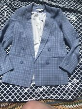 H & M Blue Check Smart Blazer New With Tags Summer Pastel Tailored Size 8