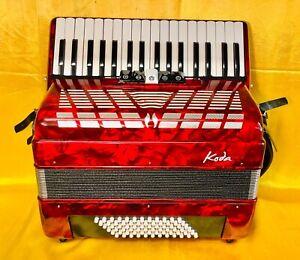 BRAND NEW KODA 34 KEY 72 BASS PIANO ACCORDION RED