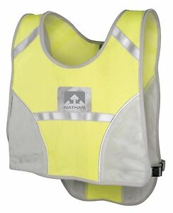 NATHAN 2013N LED CYCLIST CYCLING RUNNING WALKING MESH VEST HI VIZ YELLOW SM/MED