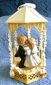 Vintage Bisque Porcelain Bride and Groom Children Cake Topper Gazebo