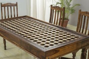 MADE TO ORDER Mogra Antique Brass Work Solid Wood Brass Dining Table D 180x90x75