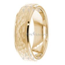 18K SOLID GOLD MENS HAMMERED WEDDING BANDS WOMENS MANS WEDDING BANDS RINGS MENS