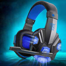 Gaming Headset for PlayStation Ps4 Tablet PC 3.5mm Headphone Mic Laptop Blue LED