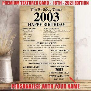 18th 2003 Birthday Present Gift Idea Poster Print Back In Edition Milestone -36