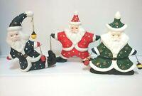 Ceramic Christmas Santa Claus Celestial Theme Figurines Candle Holder Lot of 3