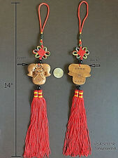 Auspicious Double Fishes Wood Chinese Knot Lucky/Wealth Hanging Car/Door/Window