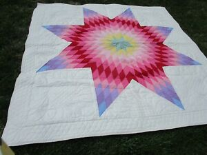 """1989 HAND QUILTED """"LONE STAR"""" QUILT 75"""" X 75"""""""