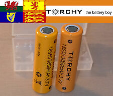 2x 30A Torchy (Samsung 30Q) 3000mAh Flat Top 18650 3.7v Li-ion batteries +case