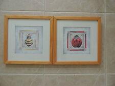 2 Framed Print by Artist Mary Beth Zeitz ~ Bubble bee, LADYBUG,13 1/4 x 13 1/4